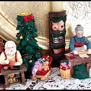 Santa & Mrs. Claus Candlestick Holders